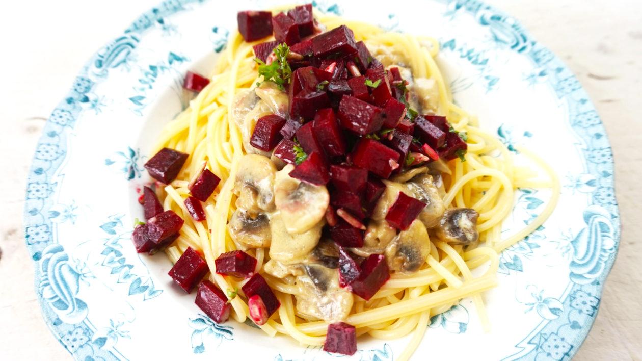 Spaghetti med svampesovs