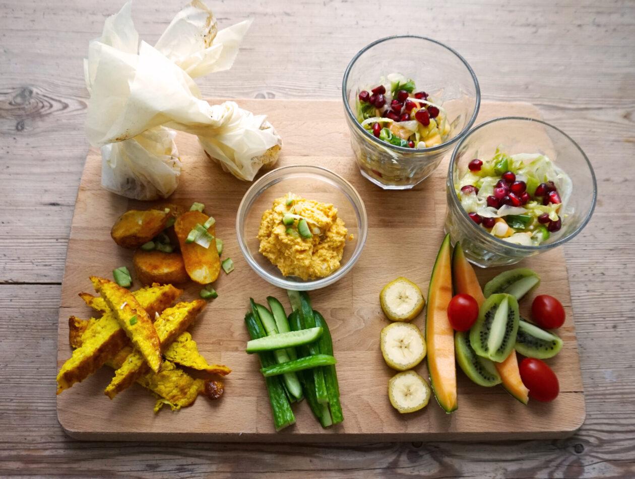 Bagt grøntsager med fetaost