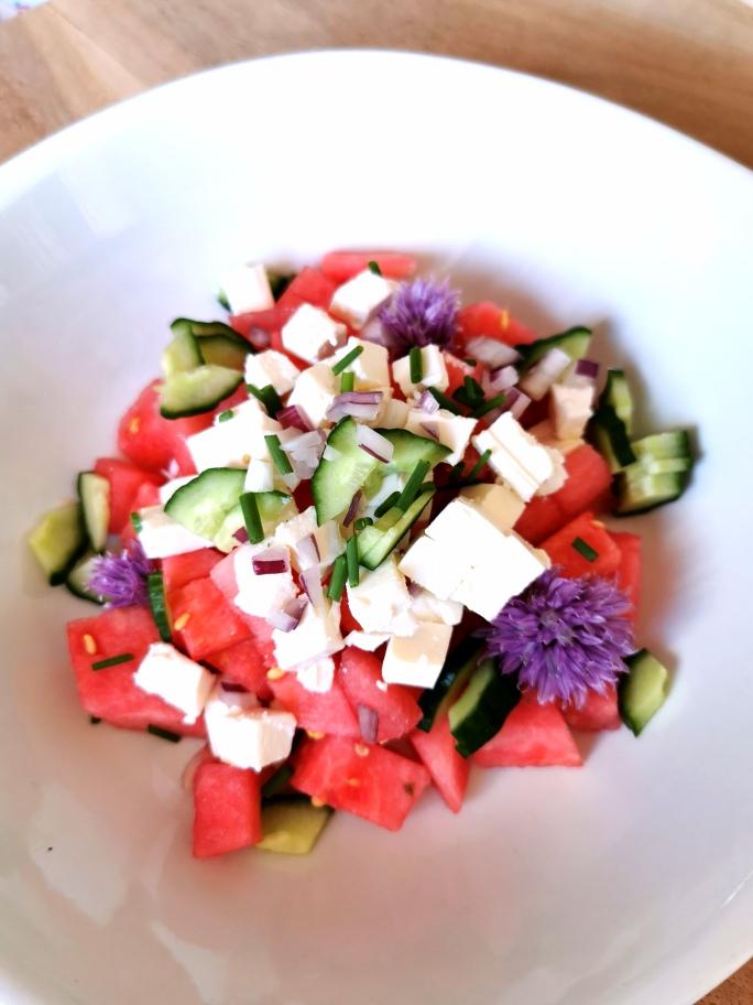 Melon salat med fetaost